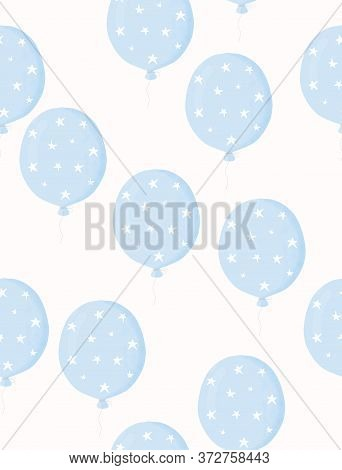 Lovely Nursery Vector Illustration With Blue Balloon. Cute Seamless Vector Pattern With Pastel Blue