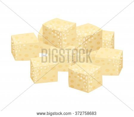 Pile Of White Sugar Cubes As Sweetener For Tea And Coffee Vector Illustration