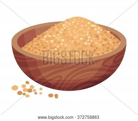Pile Of Refined Brown Sugar In Bowl As Sweetener For Food And Drink Vector Illustration