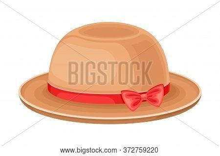 Wide Brimmed Female Hat With Silk Ribbon Vector Illustration