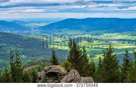 Beautiful View Over Colorful Valley From A Rocky Hill, Czech Republic.
