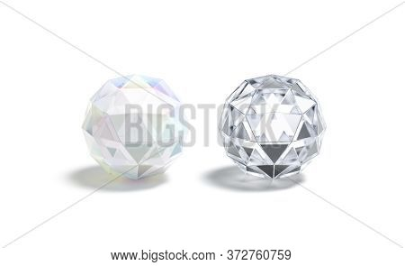 Blank Faceted Diamond And Glass Ball Mockup, 3d Rendering. Empty Acrylic Or Brilliant Jewelry Mock U