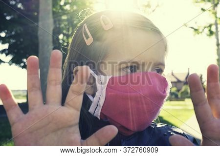 Little Caucasian Girl Wearing Medical Handmade Face Mask Protect For Fine Dust And As Protection New