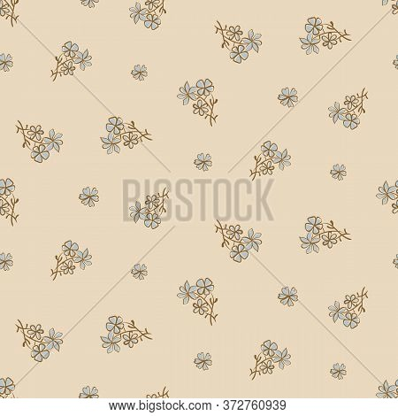 Dtisy Vintage Floral Seamless Vector Pattern In Pale Colors. Simple Girly Surface Print Design For B