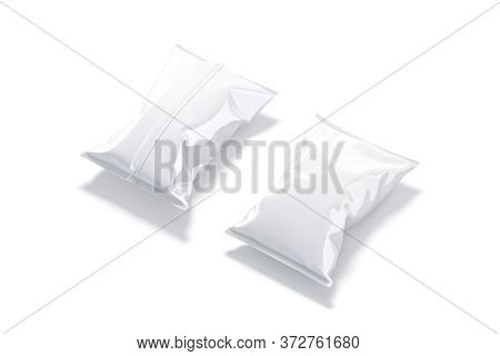 Blank White Foil Big Chips Pack Mockup, Front And Back, 3d Rendeirng. Empty Big Pouch With Potato Ch