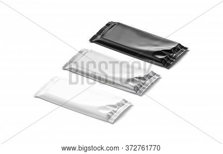 Blank Black, White And Silver Chocolate Bar Foil Wrap Mockup, 3d Rendering. Empty Cacao Or Milk Choc