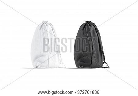 Blank Black And White Drawstring Backpack Mockup Set, Isolated, 3d Rendering. Empty Textile Packagin