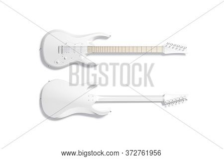 Blank White Electric Guitar Mockup, Front And Back, 3d Rendering. Empty Pick-up Classic Instrumental