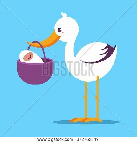 Cute Cartoon Stork With Newborn Baby Vector Illustration Isolated On Background.