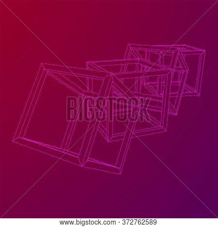 Blockchain Cube Chain. Square Big Data Flow Information. Wireframe Low Poly Mesh Vector Illustration