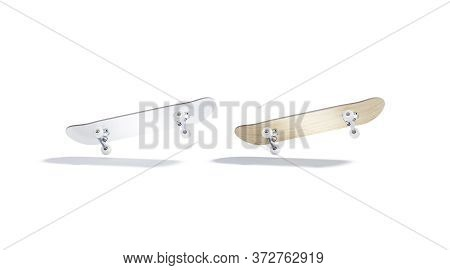 Blank White And Wood Skateboard Mockup, No Gravity, Bottom View, 3d Rendering. Empty Tricks Timber F