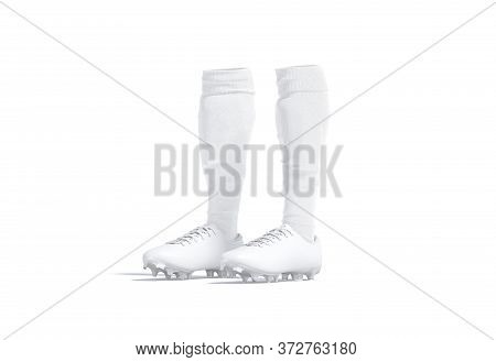 Blank White Soccer Boots With Socks Mock Up, Half-turned View, 3d Rendering. Empty Leather Shoes Wit
