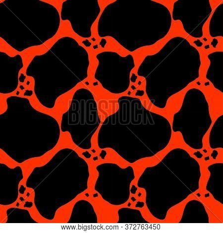 Abstract Seamless Pattern With Lava Cracks. Hot Magma Background. Cartoon Flat Design. For Packaging