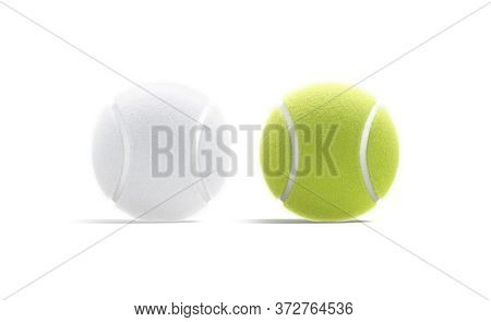 Blank Green And White Tennis Ball Mock Up, Front View, 3d Rendering. Empty Textured Fibrous Matchbal