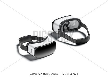 Blank White Virtual Reality Goggles Mockup, Front And Back Side, 3d Rendering. Empty Visualisation G