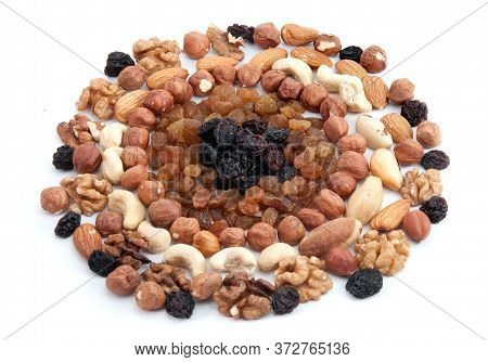 Nuts And Raisins. Helathy Snack Isolated On White Background