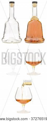 Brandy Set. Glass Bottle With Cork And Snifter.