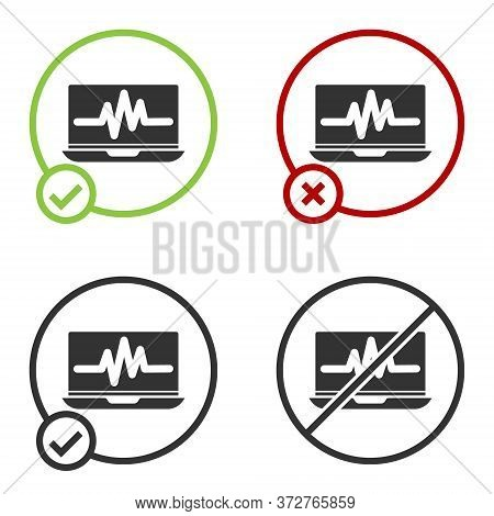 Black Laptop With Cardiogram Icon Isolated On White Background. Monitoring Icon. Ecg Monitor With He