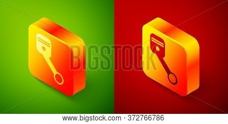 Isometric Engine Piston Icon Isolated On Green And Red Background. Car Engine Piston Sign. Square Bu