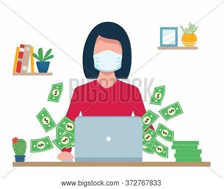 Girl Works At Laptop In Medical Mask. Gets Lot Of Money. Earnings During The Quarantine Period. Duri