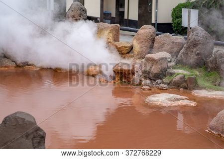 The Chinoike Jigoku (blood Pond Hell) Is One Of Eight Beppu Hot Spring (onsen). The Most Famous At B