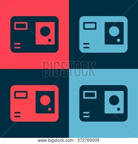Pop Art Action Extreme Camera Icon Isolated On Color Background. Video Camera Equipment For Filming