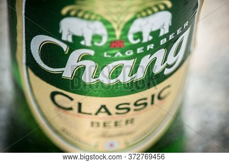 Editorial Extreme Close-up Shoot Of Thailand Chang Beer Classic Bottle