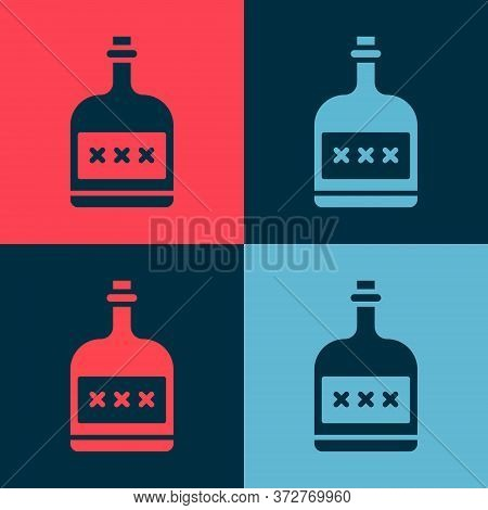 Pop Art Alcohol Drink Rum Bottle Icon Isolated On Color Background. Vector Illustration