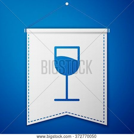 Blue Wine Glass Icon Isolated On Blue Background. Wineglass Sign. White Pennant Template. Vector Ill