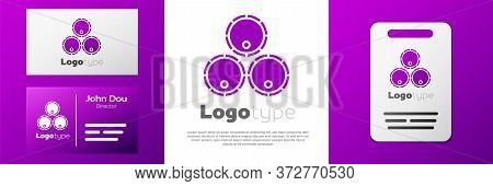 Logotype Wooden Barrels Icon Isolated On White Background. Alcohol Barrel, Drink Container, Wooden K