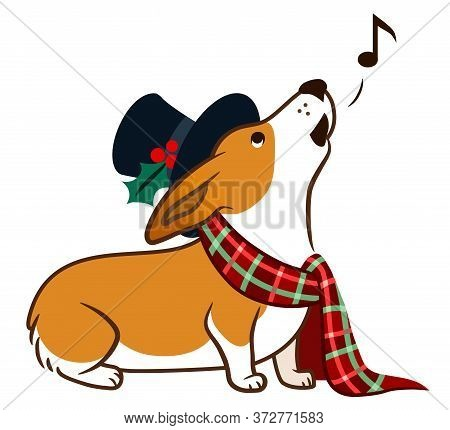Corgi Dog Singing Chrismas Carols, Wearing Top Hat And Plaid Scarf With Bow Simple Cute Cartoon Illu