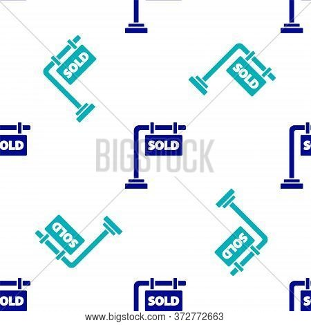 Blue Hanging Sign With Text Sold Icon Isolated Seamless Pattern On White Background. Sold Sticker. S