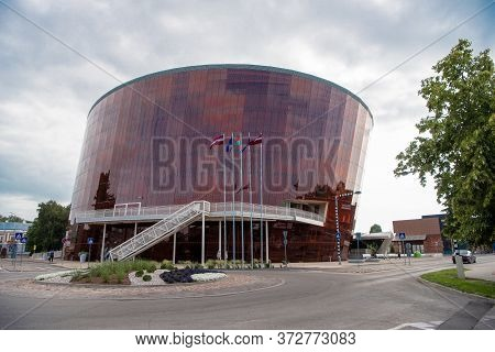 Liepaja, Latvia - July 24, 2016: Music Hall In Modern Architecture Style. Glass And Metal Constructi