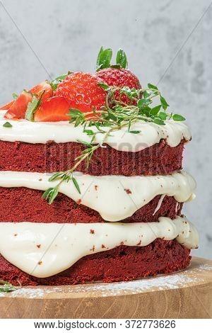 Red Velvet Cake On Wood Board. Strawbwrry Cake. Devils Cake. Wedding Dessert. Birthday Party. Delici