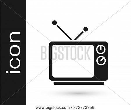 Grey Retro Tv Icon Isolated On White Background. Television Sign. Vector Illustration