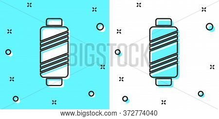 Black Line Sewing Thread On Spool Icon Isolated On Green And White Background. Yarn Spool. Thread Bo