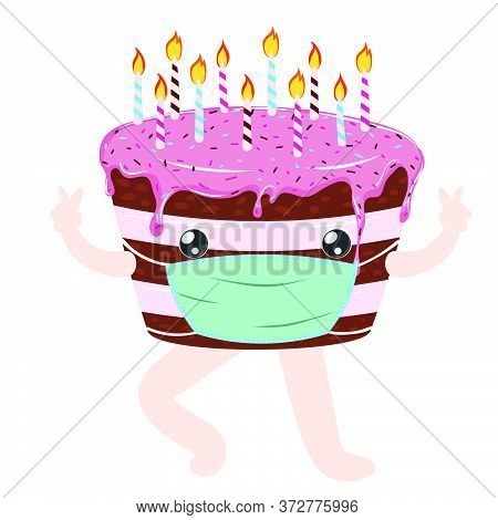Tasty Birthday Chocolate Cake With Pink Icing And Candles Wears Face Mask, Quarantine Party.