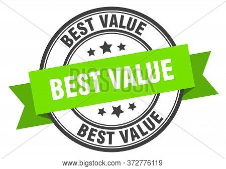 Best Value Label. Best Value Green Band Sign. Best Value