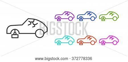 Black Line Broken Car Icon Isolated On White Background. Car Crush. Set Icons Colorful. Vector Illus