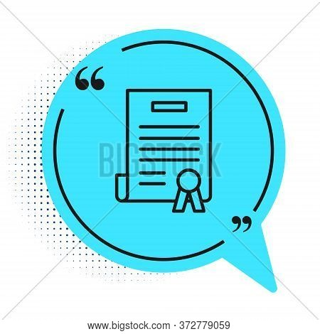 Black Line Declaration Of Independence Icon Isolated On White Background. Blue Speech Bubble Symbol.
