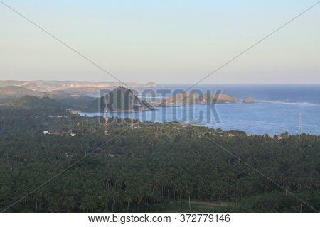 Panoramic View Of Kuta Village Lombok Beaches, Indonesia. Kuta Lombok Is An Exotic Paradise On The I