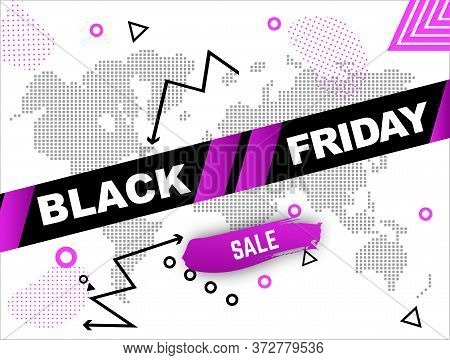 Black Frifay Sale Banner. Inscription On Danger Ribbon With Schematic World Map
