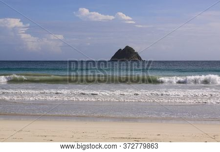 Iconic Rocky Island At Mawun Beach Lombok, Indonesia. Kuta Lombok Is An Exotic Paradise On The Indon