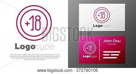 Logotype Line Alcohol 18 Plus Icon Isolated On White Background. Prohibiting Alcohol Beverages. Logo