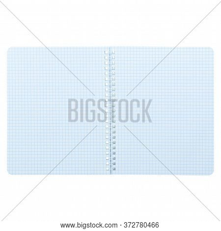 Open Notepad Isolated On A White Background, Mockup, Copy Space. An Empty Notebook In A Cage With Sp