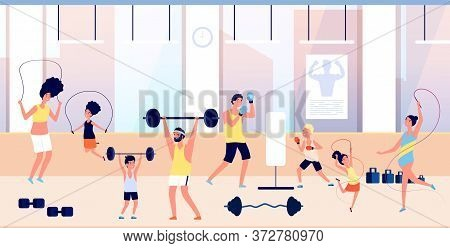 People In Gym. Family Training, Sports For Adults And Children. Exercises With Barbell, Man Boxing W