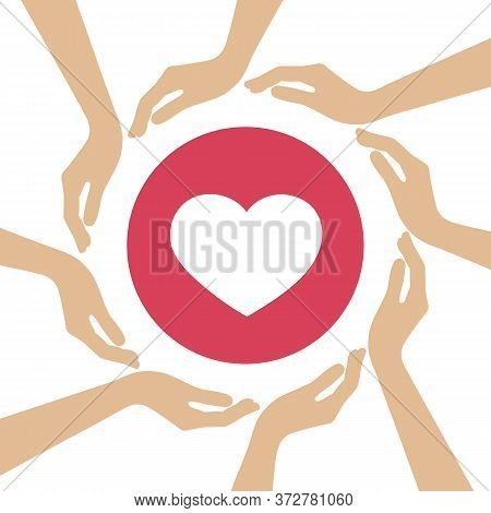 Heart Symbol In The Middle Of Human Hands Vector Illustration Eps10