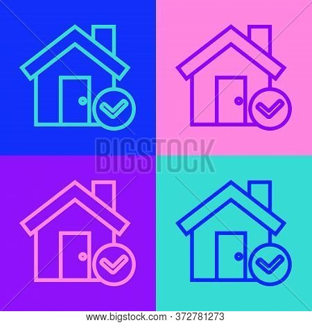 Pop Art Line House With Check Mark Icon Isolated On Color Background. Real Estate Agency Or Cottage