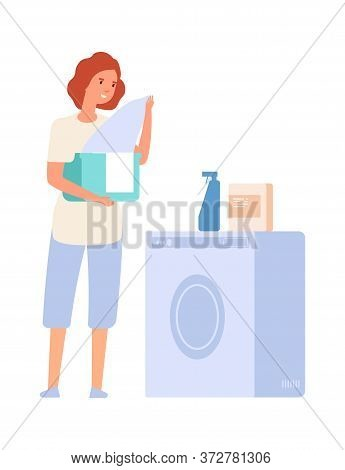 Woman And Washing Machine. Laundry Service, Girl With Cloths. Flat Female Doing Housework, Isolated
