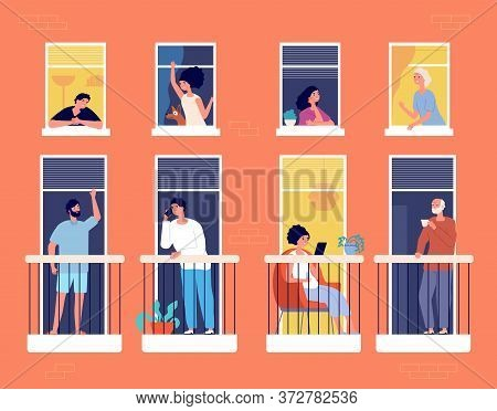 People On Balcony. Modern Apartment Building, Neighborhood Life. Neighbours Looking, Communication,